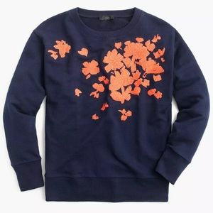New Navy J.Crew Embroidered Flower Sweatshirt